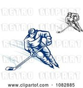Vector Clip Art of Retro Grayscale and Blue Hockey Players by Vector Tradition SM