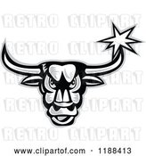 Vector Clip Art of Retro Grayscale Angry Bull with a Star on His Horn by Patrimonio