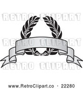 Vector Clip Art of Retro Grayscale Award Crest and Blank Banner - 2 by BestVector