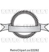 Vector Clip Art of Retro Grayscale Award Crest and Blank Banner - 3 by BestVector