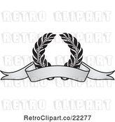 Vector Clip Art of Retro Grayscale Award Crest and Blank Banner - 4 by BestVector