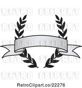 Vector Clip Art of Retro Grayscale Award Crest and Blank Banner - 5 by BestVector
