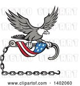 Vector Clip Art of Retro Grayscale Bald Eagle Flying with a Towing J Hook and an American Flag Banner by Patrimonio