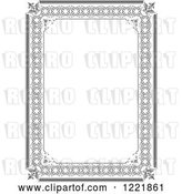 Vector Clip Art of Retro Grayscale Border Frame by Leonid