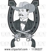 Vector Clip Art of Retro Grayscale Cowboy in a Horseshoe with Crossed Pistols by Patrimonio