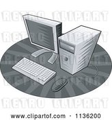 Vector Clip Art of Retro Grayscale Desktop Computer by Patrimonio