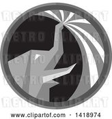 Vector Clip Art of Retro Grayscale Elephant Spraying Water from His Trunk in a Circle by Patrimonio
