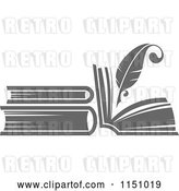 Vector Clip Art of Retro Grayscale Feather Quill Pen and Books by Vector Tradition SM
