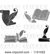 Vector Clip Art of Retro Grayscale Feather Quill Pens and Books by Vector Tradition SM