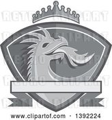 Vector Clip Art of Retro Grayscale Fire Breathing Dragon Head in a Shield, with a Crown and Banner by Patrimonio