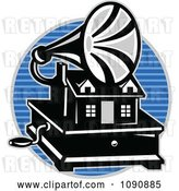 Vector Clip Art of Retro Grayscale Gramaphone over a Blue Lined Circle by Patrimonio