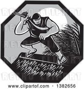 Vector Clip Art of Retro Grayscale Samoan Ninja with Samurai Sword on a Roof Top, Against a Full Moon in a Hexagon by Patrimonio
