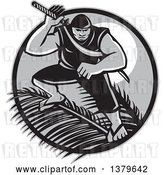 Vector Clip Art of Retro Grayscale Samoan Ninja with Samurai Sword over Palm Branches Against a Full Moon by Patrimonio