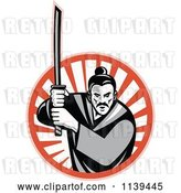 Vector Clip Art of Retro Grayscale Samurai Warrior and Katana Sword over a Circle of Rays by Patrimonio