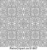 Vector Clip Art of Retro Grayscale Seamless Intricate Middle Eastern Motif Background Pattern by AtStockIllustration