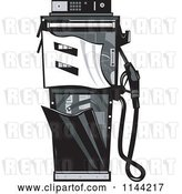 Vector Clip Art of Retro Grayscale Smashed Gas Station Pump by Patrimonio