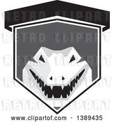 Vector Clip Art of Retro Grayscale Snapping Alligator or Crocodile in a Shield by Patrimonio