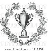 Vector Clip Art of Retro Grayscale Wreath and Trophy Cup 2 by Vector Tradition SM