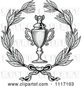 Vector Clip Art of Retro Grayscale Wreath and Trophy Cup by Vector Tradition SM