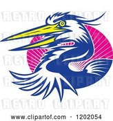 Vector Clip Art of Retro Great Blue Heron Bird Emerging from an Oval of Pink Rays by Patrimonio