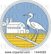August 14th, 2018: Vector Clip Art of Retro Great Blue Heron Bird on a Branch in a Circle with a Barn and Silo by Patrimonio