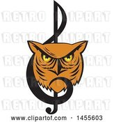 Vector Clip Art of Retro Great Horned Owl Face in a Music Clef Note by Patrimonio