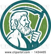 Vector Clip Art of Retro Greek God, Cronus or Kronos, Holding a Scythe in a Teal White and Green Circle by Patrimonio