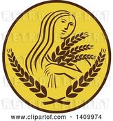 Vector Clip Art of Retro Greek Goddess, Demeter, Holding Grains in a Brown and White Circle by Patrimonio