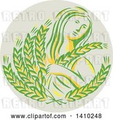 Vector Clip Art of Retro Greek Goddess, Demeter, Holding Grains in a Circle by Patrimonio