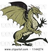 Vector Clip Art of Retro Green Aggressive Dragon by Patrimonio