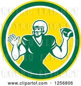 Vector Clip Art of Retro Green American Football Player Throwing in a Yellow Circle by Patrimonio