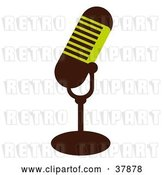 Vector Clip Art of Retro Green and Brown Microphone by OnFocusMedia