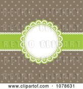 Vector Clip Art of Retro Green and Brown Polka Dot and Ribbon Frame Invitation Background by KJ Pargeter