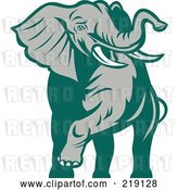 Vector Clip Art of Retro Green and Gray Walking Elephant by Patrimonio