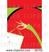 Vector Clip Art of Retro Green and Red Spring Fashion Sale Background with a Lady's Hand Holding a Bag by MilsiArt