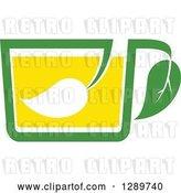 Vector Clip Art of Retro Green and Yellow Tea Cup with a Leaf 10 by Vector Tradition SM