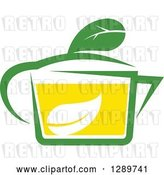 Vector Clip Art of Retro Green and Yellow Tea Cup with a Leaf 11 by Vector Tradition SM