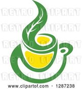 Vector Clip Art of Retro Green and Yellow Tea Cup with a Leaf 3 by Vector Tradition SM