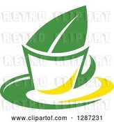 Vector Clip Art of Retro Green and Yellow Tea Cup with a Leaf 4 by Vector Tradition SM