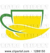 Vector Clip Art of Retro Green and Yellow Tea Cup with a Leaf 5 by Vector Tradition SM