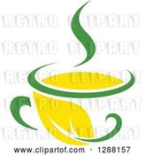 Vector Clip Art of Retro Green and Yellow Tea Cup with a Leaf 6 by Vector Tradition SM