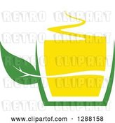 Vector Clip Art of Retro Green and Yellow Tea Cup with a Leaf 7 by Vector Tradition SM