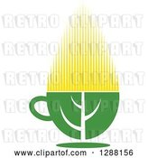 Vector Clip Art of Retro Green and Yellow Tea Cup with a Leaf 8 by Vector Tradition SM