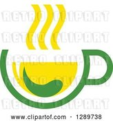 Vector Clip Art of Retro Green and Yellow Tea Cup with a Leaf 9 by Vector Tradition SM
