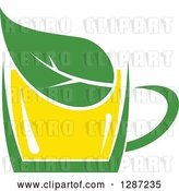 Vector Clip Art of Retro Green and Yellow Tea Cup with a Leaf by Vector Tradition SM