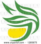 Vector Clip Art of Retro Green and Yellow Tea Cup with Leaves 10 by Vector Tradition SM