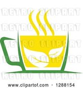 Vector Clip Art of Retro Green and Yellow Tea Cup with Leaves 2 by Vector Tradition SM