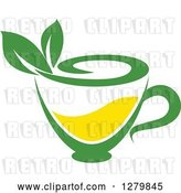 Vector Clip Art of Retro Green and Yellow Tea Cup with Leaves 3 by Vector Tradition SM