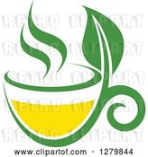 Vector Clip Art of Retro Green and Yellow Tea Cup with Leaves 4 by Vector Tradition SM