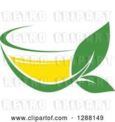 Vector Clip Art of Retro Green and Yellow Tea Cup with Leaves 5 by Vector Tradition SM
